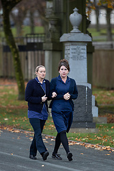 © Licensed to London News Pictures . 30/10/2018. Accrington , UK . Two nurses arrive at the funeral of Gemma Nuttall at Accrington Crematorium . Gemma died of cancer despite initially seeing off the disease after radical immunotherapy treatment in Germany , paid for with the fundraising support of actress Kate Winslet , who read of Gemma's plight on a crowdfunding website shortly after she lost her own mother to cancer . Permission to photograph given by Gemma's mother , Helen Sproates . Photo credit : Joel Goodman/LNP