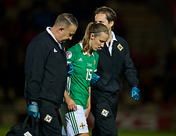 NEWPORT, WALES - Tuesday, September 3, 2019: Northern Ireland's Freya Holdaway goes off injured during the UEFA Women Euro 2021 Qualifying Group C match between Wales and Northern Ireland at Rodney Parade. (Pic by David Rawcliffe/Propaganda)
