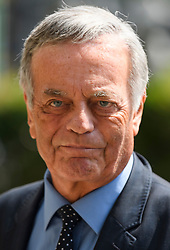 © Licensed to London News Pictures. 22/05/2018. London, UK. TONY BLACKBURN attends the funeral of television presenter Dale Winton at Commonwealth Church in Marylebone, London. Dale Winton, who was found dead at his home on April 18, was famous for presenting Supermarket Sweep and National Lottery game show. Photo credit: Ben Cawthra/LNP