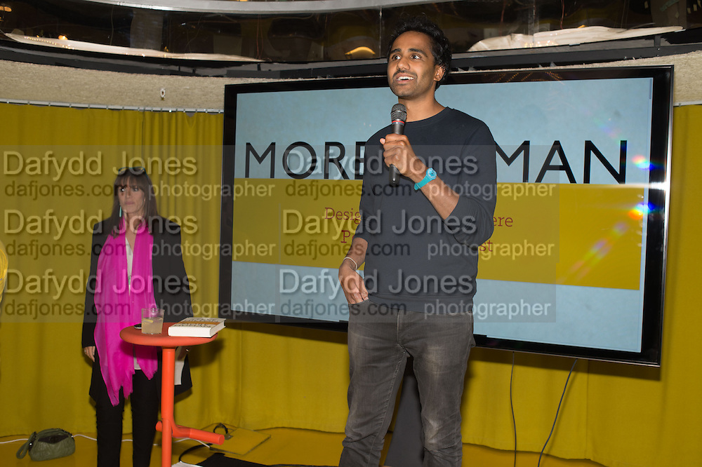 GAIL REBUCK; ROHAN SILVA, Launch of ' More Human',  Designing a World Where People Come First' by Steve Hilton. Party held at Second Home in Princelet St, off Brick Lane, London. 19 May 2015.