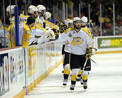 Aaron Lewadniuk of the Brandon Wheat Kings celebrates a goal in Game 6 of the 2010 MasterCard Memorial Cup in Brandon, MB on Wednesday May 19, 2010. Photo by Aaron Bell/CHL Images