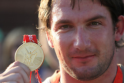 Athlete Primoz Kozmus, Olympic gold medal winner at welcome ceremony in Olympic City BTC, on August 21, 2008, in Alea Mladih, BTC, Ljubljana, Slovenia. (Photo by Vid Ponikvar / Sportal Images)./ Sportida)