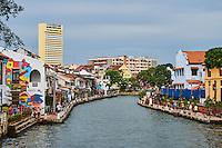Malaisie, état de Malacca, Malacca, Centre historique, patrimoine Mondial de l'Unesco, peinture murale le long du canal // Malaysia, Malacca state, Malacca, Unesco Wold Heritage,  the canal, wall painting
