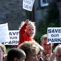 Protestors belonging to the Tayside Crescent Playpark Action Group in Aberfeldy who are demonstrating against the closure of playparks by Perth and Kinross Council<br /><br />Picture by Graeme Hart<br />Copyright Perthshire Picture Agency<br />Tel: 01738 623350 / 07990 594431