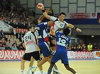 Handball EM Herren 2010 Hauptrunde Deutschland - Frankreich 24.01.2010 Michael Haass (GER links), Daniel Narcisse (FRA Nr.8), Torsten Jansen (GER Nr. 15), Luc Abalo (FRA Nr. 19)
