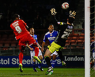 Kevin Lisbie of Leyton Orient goes close to scoring during the Sky Bet League 1 match at the Matchroom Stadium, London<br /> Picture by David Horn/Focus Images Ltd +44 7545 970036<br /> 25/03/2014