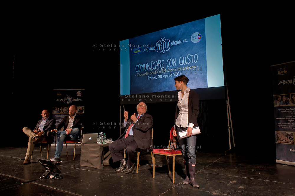 Roma 28 Aprile 2015<br /> Comunicare con Gusto<br /> Quando bont&agrave; e fiducia si incontrano<br /> Giovanni Rana, Presidente e fondatore del Pastificio Rana, con  Vincenzo Russo e Francesco Bozza, al teatro Vascello.<br /> Rome April 28, 2015<br /> Communicate with Gusto<br /> When goodness and  assurance meet<br /> Giovanni Rana, President and founder of the Pastificio Rana,  with Vincenzo Russo and Francesco Bozza, a Vascello theater.