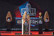 Aug 3, 2019; Canton, OH, USA; Gil Bradnt speaks during the Pro Football Hall of Fame Enshrinement at Tom Benson Hall of Fame Stadium. (Robin Alam/Image of Sport)