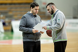 Saso Filipovski, head coach of basketball club Stelmet BC Zielona Gora (POL) and his assistant coach during practice session of his team, on January 21, 2016 in CRS Hala Zielona Góra, Zielona Gora, Poland. Photo by Vid Ponikvar / Sportida