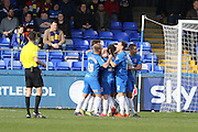 Hartlepool Team celebration after  Hartlepool United defender Adam Jackson (26) makes it 1-0 during the Sky Bet League 2 match between Hartlepool United and AFC Wimbledon at Victoria Park, Hartlepool, England on 25 March 2016. Photo by Stuart Butcher.