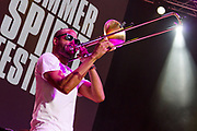 Trombone Shorty performs during the Summer Spirit Festival at Merriweather Post Pavilion in Columbia, Md on Saturday, August 5, 2017.