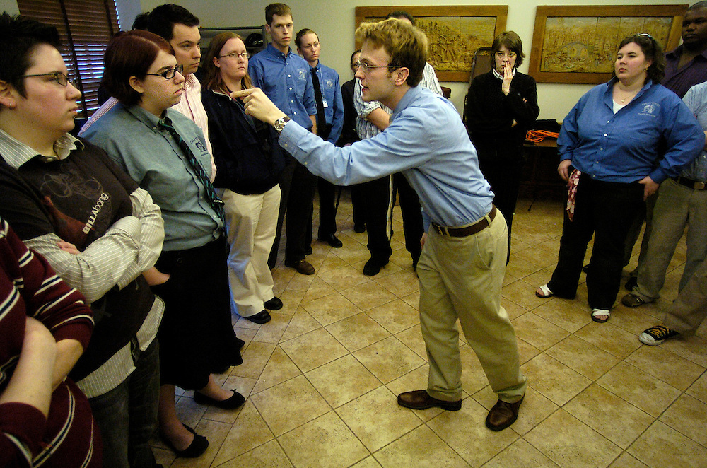 "(03/08/06).""Queer, Faggot, baby molester..."" were just a few of the slurs yelled by Jake Reitan, 23  at Rebecca Solomon, 18 as the Equality Riders trained for their trip in Washington D.C..(Times Photo Willie J. Allen Jr.)"