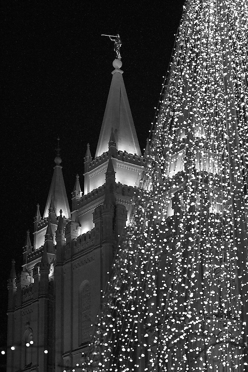 Christmas lights on display at Temple Square in downtown Salt Lake City, Utah. The square is owned by the Church of Jesus Christ of Latter-day Saints (Mormon) and annual attractions thousands of visitors to see the Christmas light display.  December 2, 2005. Photo by August Miller