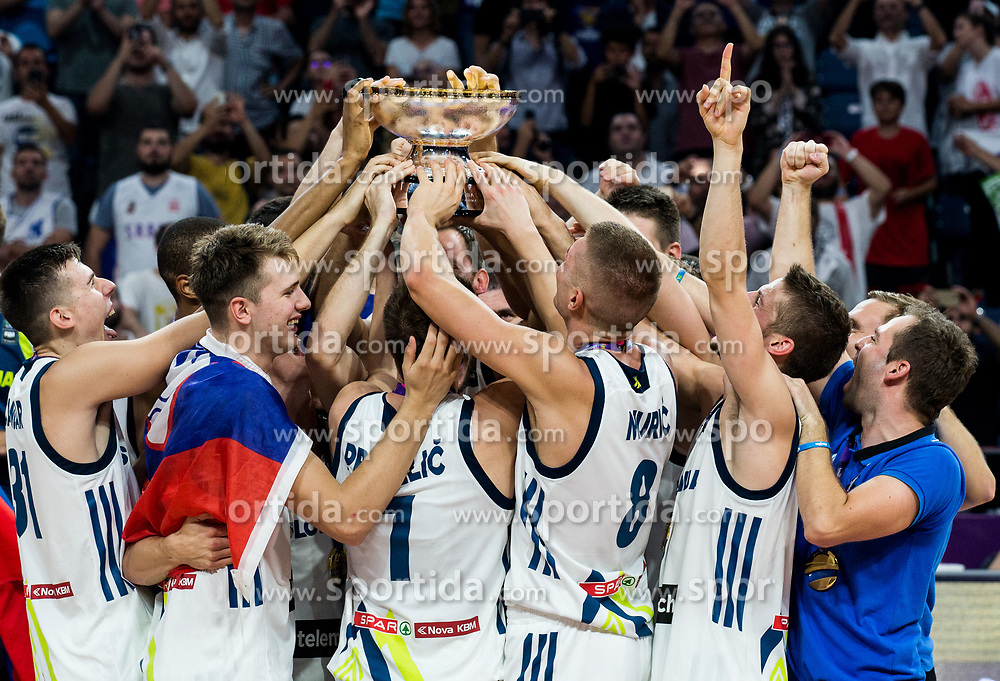 Players of Slovenia celebrating at Trophy ceremony after winning during the Final basketball match between National Teams  Slovenia and Serbia at Day 18 of the FIBA EuroBasket 2017 when Slovenia became European Champions 2017, at Sinan Erdem Dome in Istanbul, Turkey on September 17, 2017. Photo by Vid Ponikvar / Sportida
