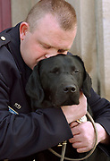 Cit4/8/04  Photo by Mara Lavitt--Rob &amp; Major<br /> ML0122E #1866<br /> New Haven Police Officer Robert Fumiatti with his drug dog Major after their graduation from the State Police Canine Training Unit in Meriden.