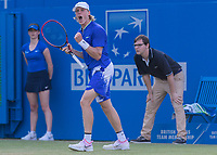Tennis - 2017 Aegon Championships [Queen's Club Championship] - Day Three, Wednesday<br /> <br /> Men's Singles: Round of 16 _ Tomas Berdych (CZE) Vs Denis Shapovalov (CAN)<br /> <br /> Denis Shapovalov (CAN) celebrates taking the second set at Queens Club<br /> <br /> COLORSPORT/DANIEL BEARHAM