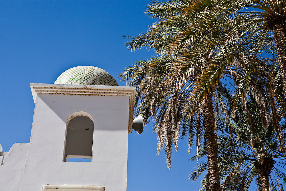 "Simple graphic detail of an Omani ""pillbox"" minaret, tiled in green, with projecting loudspeaker, next to a few palm trees heavily fronded, against a plain bright blue sky."