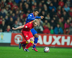 SWANSEA, WALES - Tuesday, March 26, 2013: Wales' Jonathan Williams in action against Croatia's Sammir during the 2014 FIFA World Cup Brazil Qualifying Group A match at the Liberty Stadium. (Pic by David Rawcliffe/Propaganda)