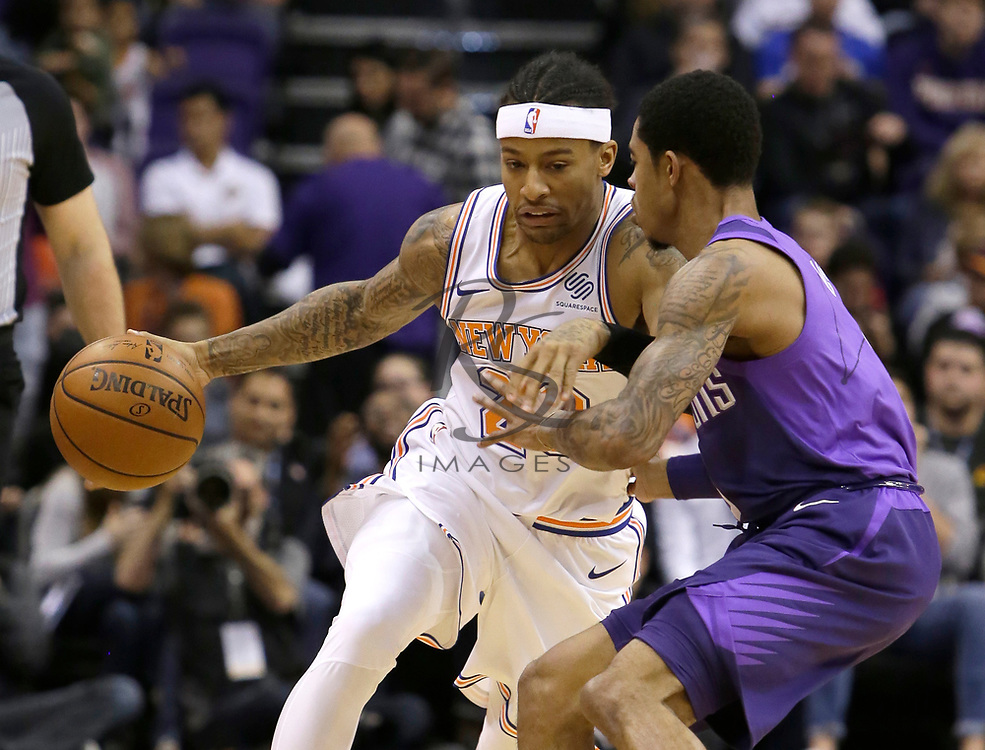 New York Knicks guard Trey Burke (23) in the first half during an NBA basketball game against the Phoenix Suns, Friday, Jan. 26, 2018, in Phoenix. (AP Photo/Rick Scuteri)