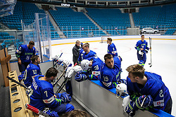 The players and bench at ice hockey practice one day before at IIHF World Championship DIV. I Group A Kazakhstan 2019, on April 28, 2019 in Barys Arena, Nur-Sultan, Kazakhstan. Photo by Matic Klansek Velej / Sportida