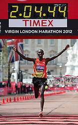 © London News Pictures. 22/04/2012. London, UK. Wilson Kipsang of Kenya crosses the finish line to win the men's elite race during the 2012 Virgin London Marathon on April 22, 2012. Photo credit : Ben Cawthra /LNP