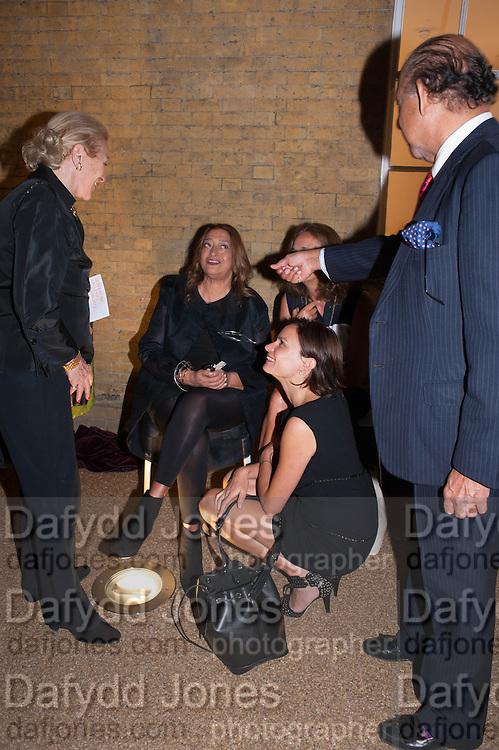 CAROLE PHILLIPS; ZAHA HADID; MYA; ELISKA KAPRITSKY; CONFREY PHILLIPS, VIP opening  of the new Serpentine Sackler Gallery designed by Zaha Hadid . Kensinton Gdns. London. 25 September 2013