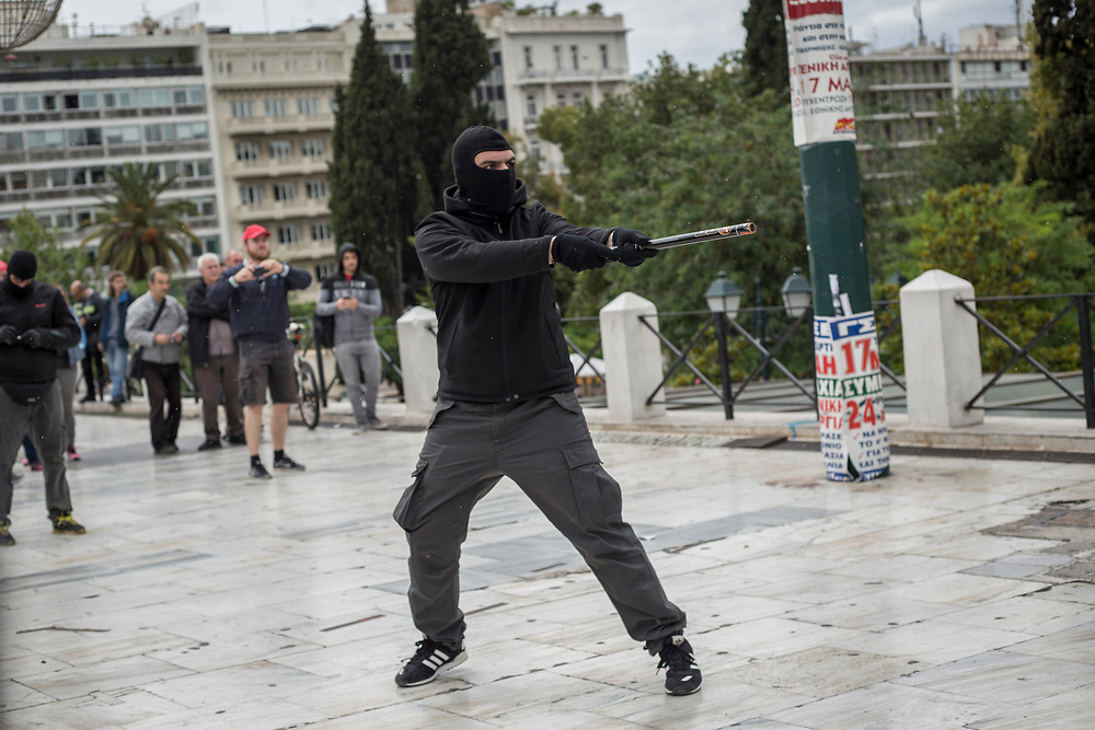 ATHENS, GREECE. May 17, 2017 - Demonstrators clashes with the riot police during a 24 hour general strike against further austerity measures to be taken by the Greek Government.