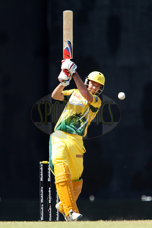 Rob Quiney drives during match 19 of the Sri Lankan Premier League between  Uthura Rudras and Nagenahiras held at the Premadasa Stadium in Colombo, Sri Lanka on the 26th August 2012. .Photo by Ron Gaunt/SPORTZPICS/SLPL