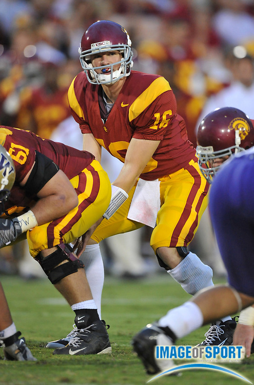 Nov 1, 2008; Los Angeles, CA, USA; Southern California Trojans quarterback Mitch Mustain (16) takes a snap during 56-0 victory over the Washington Huskies at the Los Angeles Memorial Coliseum.
