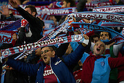 Trabzonspor's supporters celebrate goal for Trabzonspor during the UEFA Europa League Group J football match between Legia Warsaw and Trabzonspor AS at Pepsi Arena Stadium in Warsaw on November 07, 2013.<br /> <br /> Poland, Warsaw, November 07, 2013<br /> <br /> Picture also available in RAW (NEF) or TIFF format on special request.<br /> <br /> For editorial use only. Any commercial or promotional use requires permission.<br /> <br /> Mandatory credit:<br /> Photo by &copy; Adam Nurkiewicz / Mediasport