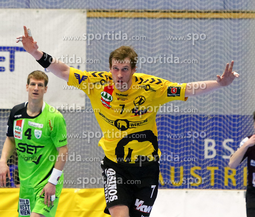 27.03.2015, BSFZ Suedstadt, Maria Enzersdorf, AUT, ÖHB Cup, Halbfinale, Bregenz Handball vs SG INSIGNIS Handball WestWien, im Bild Povilas Babarskas (Bregenz)// during the ÖHB Cup semifinal Match between Bregenz Handball and SG INSIGNIS Handball WestWien at the BSFZ Suedstadt, Maria Enzersdorf, Austria on 2015/03/27, EXPA Pictures © 2015, PhotoCredit: EXPA/ Sebastian Pucher