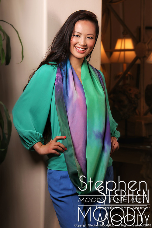"""Monstro Silk Scarf - Wearable Art Catalog, designed by artist Stephen Moody in Scottsdale, AZ from the artwork """"Art In Its Most Human Form""""TM.  Moody's art is available for purchase on Canvas, watercolor paper and silk wearable art."""