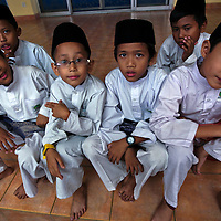 Malaysian Muslim children in traditional Malay outfit during the Maulidur Rasul celebrations in Kuala Lumpur, Malaysia. Muslims throughout Malaysia will commemorate Maulidur Rasul, also known as Mawlid, the birthday of Prophet Muhammad.