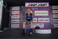 Miriam Bjørnsrud (NOR) of Hitec Products Cycling Team enjoys her time in the hot seat during Stage 5 of the Giro Rosa - a 12.7 km individual time trial, starting and finishing in Sant'Elpido A Mare on July 4, 2017, in Fermo, Italy. (Photo by Balint Hamvas/Velofocus.com)