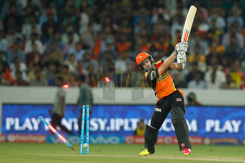 Kane Williamson of Sunrisers Hyderabad is bowled by Christopher Morris of Delhi Daredevils during match 42 of the Vivo IPL 2016 (Indian Premier League ) between the Sunrisers Hyderabad and the Delhi Daredevils held at the Rajiv Gandhi Intl. Cricket Stadium, Hyderabad on the 12th May 2016<br /> <br /> Photo by Deepak Malik / IPL/ SPORTZPICS