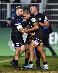 Jonathan Joseph of Bath Rugby celebrates his try with team-mates - Mandatory byline: Patrick Khachfe/JMP - 07966 386802 - 06/12/2019 - RUGBY UNION - The Recreation Ground - Bath, England - Bath Rugby v Clermont Auvergne - Heineken Champions Cup