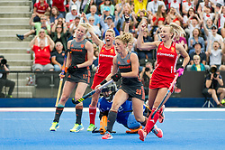 England celebrate Alex Danson's goal. England v The Netherlands, Lee Valley Hockey and Tennis Centre, London, England on 11 June 2017. Photo: Simon Parker