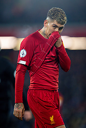 LIVERPOOL, ENGLAND - Saturday, November 30, 2019: Liverpool's Roberto Firmino looks dejected during the FA Premier League match between Liverpool FC and Brighton & Hove Albion FC at Anfield. (Pic by David Rawcliffe/Propaganda)