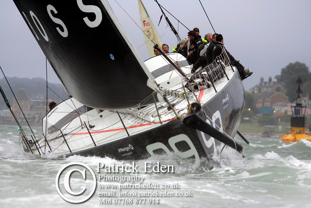 Alex Thomson, Ben Ainsley, Lewis hamilton, Hugo Boss, J P Morgan, Round The Island Race, Start, Cowes, isle of Wight, England, UK Sports Photography
