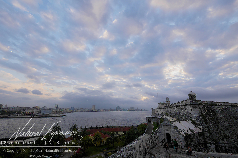 A view looking in to Havana from Morro Castle, an old Spanish For built to guard the entrance to Havana Harbor, Havana, Cuba.
