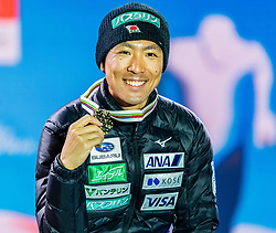 28.02.2019, Seefeld, AUT, FIS Weltmeisterschaften Ski Nordisch, Seefeld 2019, Nordische Kombination, Siegerehrung, im Bild Bronzemedaillengewinner Akito Watabe (JPN) // Bronce medalist Akito Watabe of Japan during the winner Ceremony for the Ski Jumping competition for Nordic Combined of FIS Nordic Ski World Championships 2019. Seefeld, Austria on 2019/02/28. EXPA Pictures © 2019, PhotoCredit: EXPA/ Stefan Adelsberger