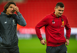 STOKE-ON-TRENT, ENGLAND - Wednesday, November 29, 2017: Liverpool's Dejan Lovren with Liverpool assistant manager Zeljko BuvaC leave the pitch inside the Bet365 Stadium before the FA Premier League match between Stoke City and Liverpool at the Bet365 Stadium. (Pic by Peter Powell/Propaganda)