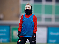 SLOUGH, ENGLAND - Monday, January 21, 2019: Wales' Jessica Fishlock, wearing a protective face mask, during a training session at Arbour Park home of Slough Town FC ahead of the International Friendly game against Italy. (Pic by David Rawcliffe/Propaganda)