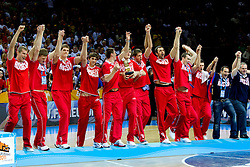 Players of Russia celebrate at medal ceremony after the final basketball game between National basketball teams of Spain and France at FIBA Europe Eurobasket Lithuania 2011, on September 18, 2011, in Arena Zalgirio, Kaunas, Lithuania. Spain defeated France 98-85 and became European Champion 2011, France placed second and Russia third. (Photo by Vid Ponikvar / Sportida)