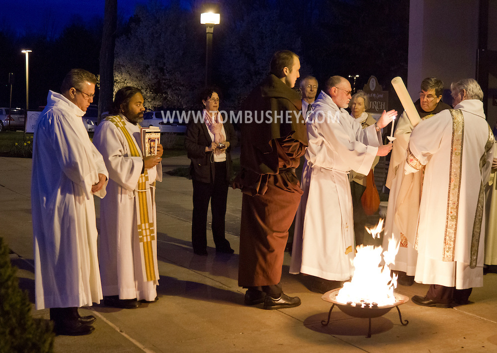 Middletown, New York - The Easter Fire was used to light the Paschal Candle outside of Mount Carmel Church before the Easter Vigil Mass on April 7, 2012.