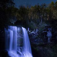 Dry Falls under the light of a full moon. Near Highlands, North Carolina.