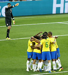June 27, 2018 - Moscow, Russia - Group E Serbia v Brazil - FIFA World Cup Russia 2018.Brazil celebration after Paulinho scored the goal of 0-1 at Spartak Stadium in Moscow, Russia on June 27, 2018. (Credit Image: © Matteo Ciambelli/NurPhoto via ZUMA Press)