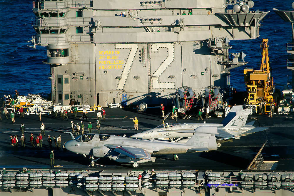 EA-6B and F/A-18C on waist .cats of USS Abe Lincoln