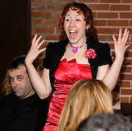 "Jene Rebbin Shaw as Gwen Elizabeth Verre during Mayhem & Mystery's production of ""Proposal Predicament"" at the Spaghetti Warehouse in downtown Dayton, Monday, January 9, 2012."
