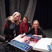 Author Doris Kearns Goodwin during backstage book signing after speaking at a Writers on a New England Stage show at The Music Hall in Portsmouth, NH